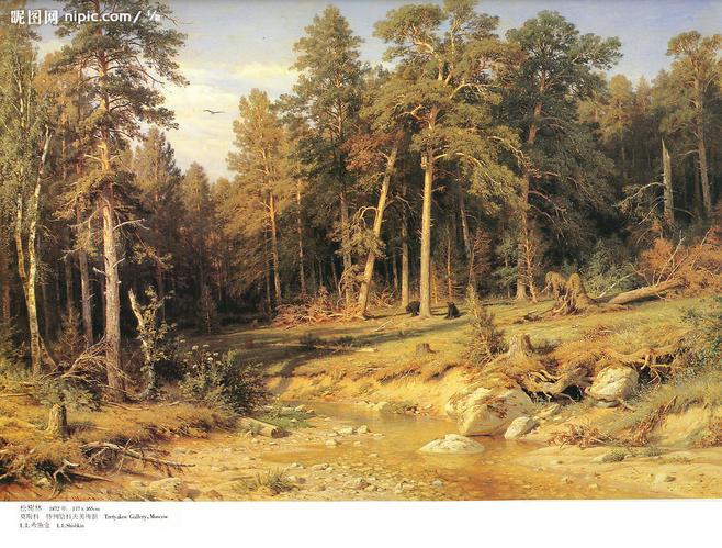世界名画松树林